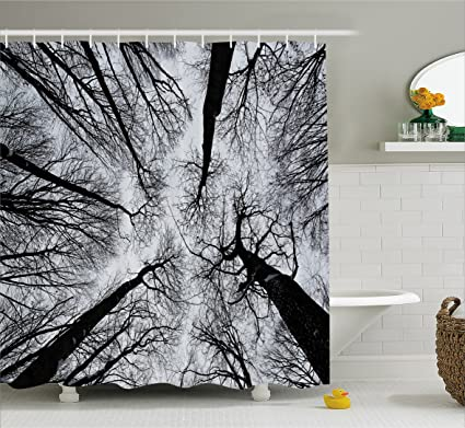 Ambesonne Forest Home Decor Shower Curtain Scary Winter Tops Of The Trees Dark Dramatic Silhouettes