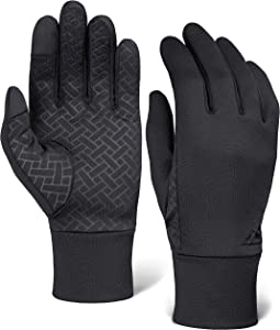 Touch Screen Running Gloves for Men & Women - Thermal Winter Glove Liners for Texting, Cycling & Driving - Thin, Lightweight & Warm Sports/Athletic Hand Gloves - Touchscreen Smartphone Compatible