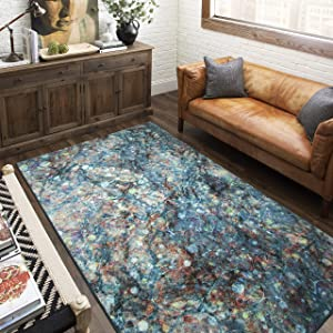 Mohawk Home Prismatic Layered Marble Multicolored Abstract Precision Printed Area Rug, 5'x8', Blue