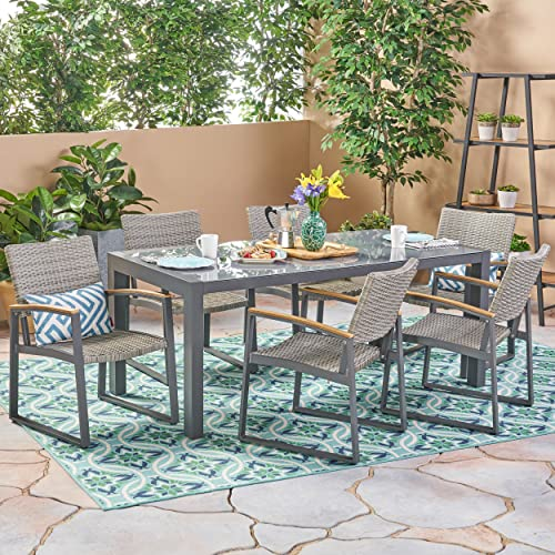 Christopher Knight Home Teina Outdoor Aluminum and Wicker 7 Piece Dining Set