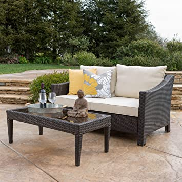 Aspen Outdoor Wicker Loveseat U0026 Table W/Water Resistant Fabric Cushions  (Brown/Beige