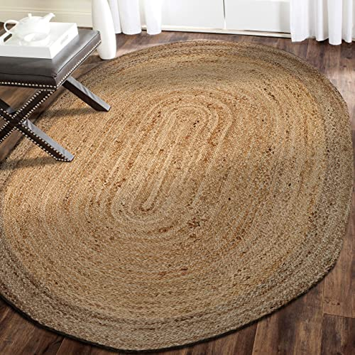 LR Resources Jute LR12035-NGY79OV Natural/Gray Oval 7 x 9 ft Indoor Area Rug