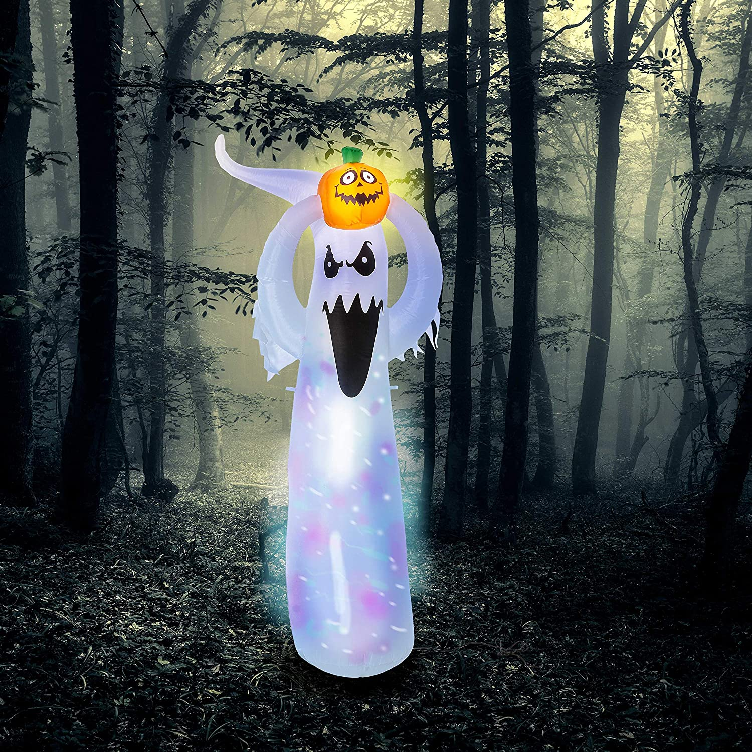 Halloween Haunters Bluetooth 6 Foot Inflatable Pumpkin with 3 Spooky White Ghosts with Bluetooth Speaker Yard Prop Decoration Animated Dancing Multi-Color LED Lights Indoor Outdoor Lawn Blow Up
