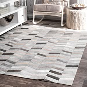 nuLOOM 200TXAL01A-8010 Modern Cowhide Patchwork Area Rug, 8' x 10', Silver