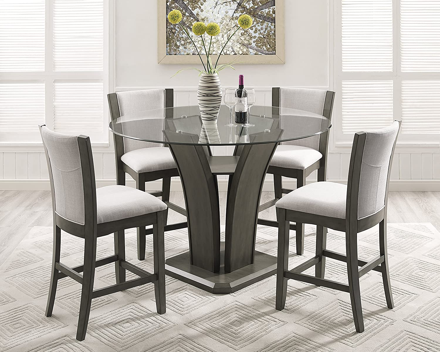 Roundhill Furniture Kecco Gray 5-Piece Round Glass Top Counter Height  Dining Set