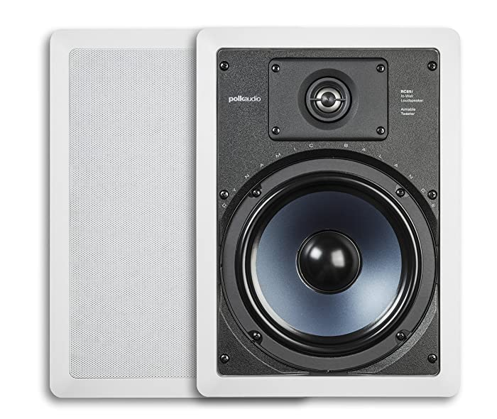 """Polk Audio RC85i 2-way Premium In-Wall 8"""" Speakers, Pair of 2 Perfect for Damp and Humid Indoor/Outdoor Placement - Bath, Kitchen, Covered Porches (White, Paintable Grille)"""