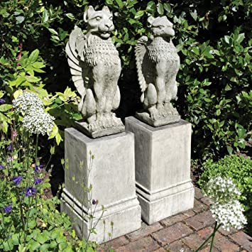 Stone Garden Statues   Gothic Griffin U0026 Lion On Plinths