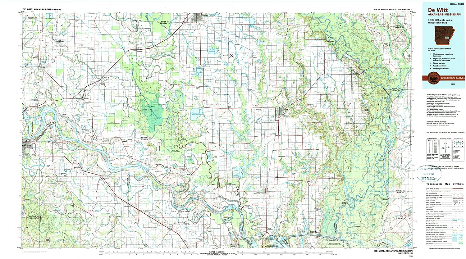 Amazon.com : YellowMaps De WITT AR topo map, 1:100000 Scale, 30 X 60 ...