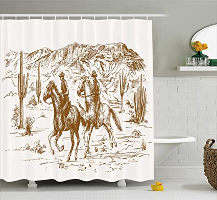 Ambesonne Western Shower Curtain By, Country Theme Hand Drawn Illustration  Of American Wild West Desert