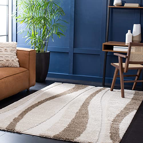 Safavieh Florida Shag Collection SG451 Abstract Stripe 1.2-inch Thick Area Rug