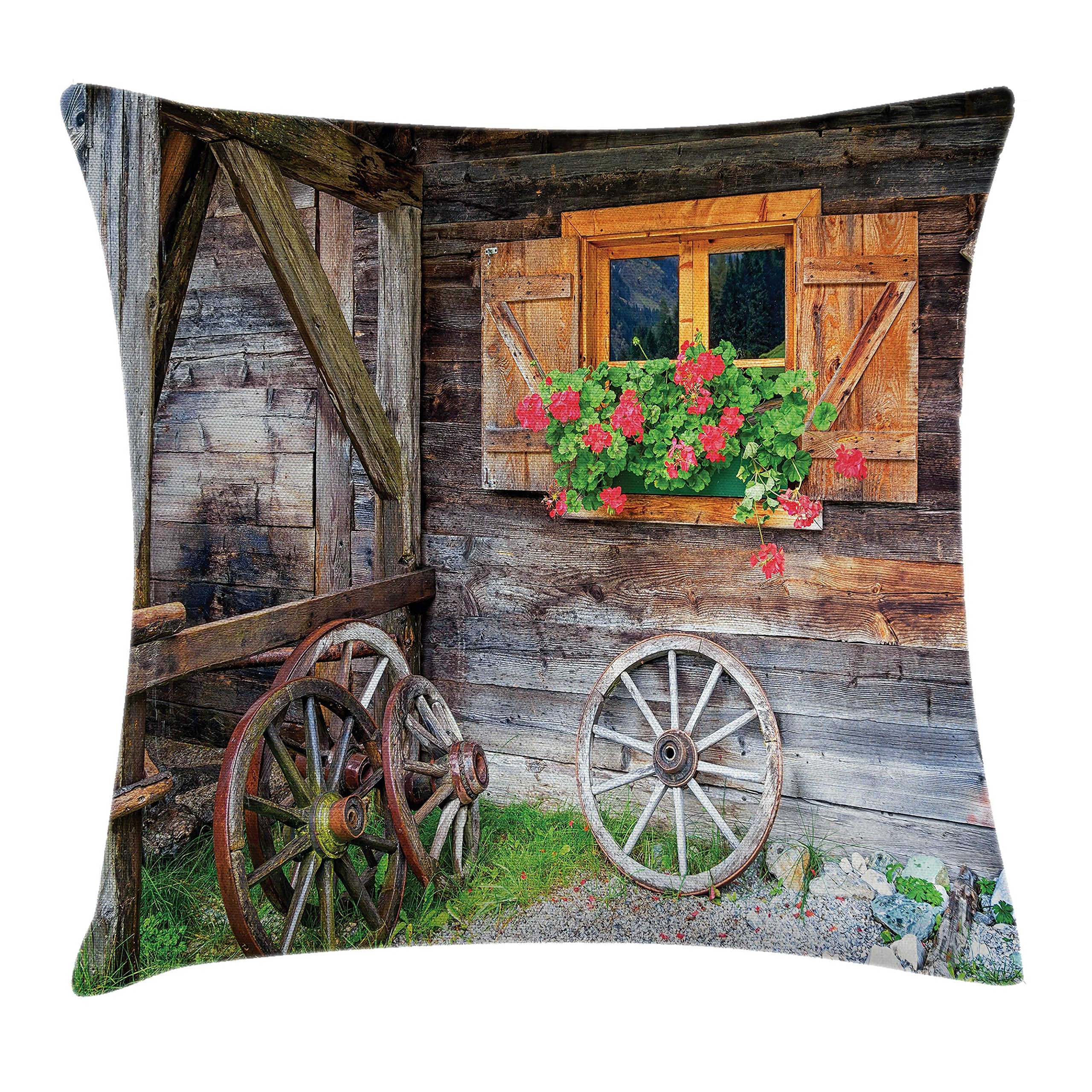 Ambesonne Shutters Decor Throw Pillow Cushion Cover, Weathered Old Window with Flowers in Pot Wheels Farmhouse Rural Scene, Decorative Square Accent Pillow Case, 24 X 24 Inches, Brown Green Red
