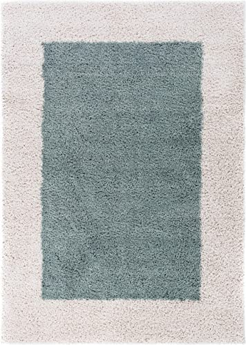 Well Woven Madison Cozumel Modern Border Light Blue Shag Thick Area Rug 5 x 7 2