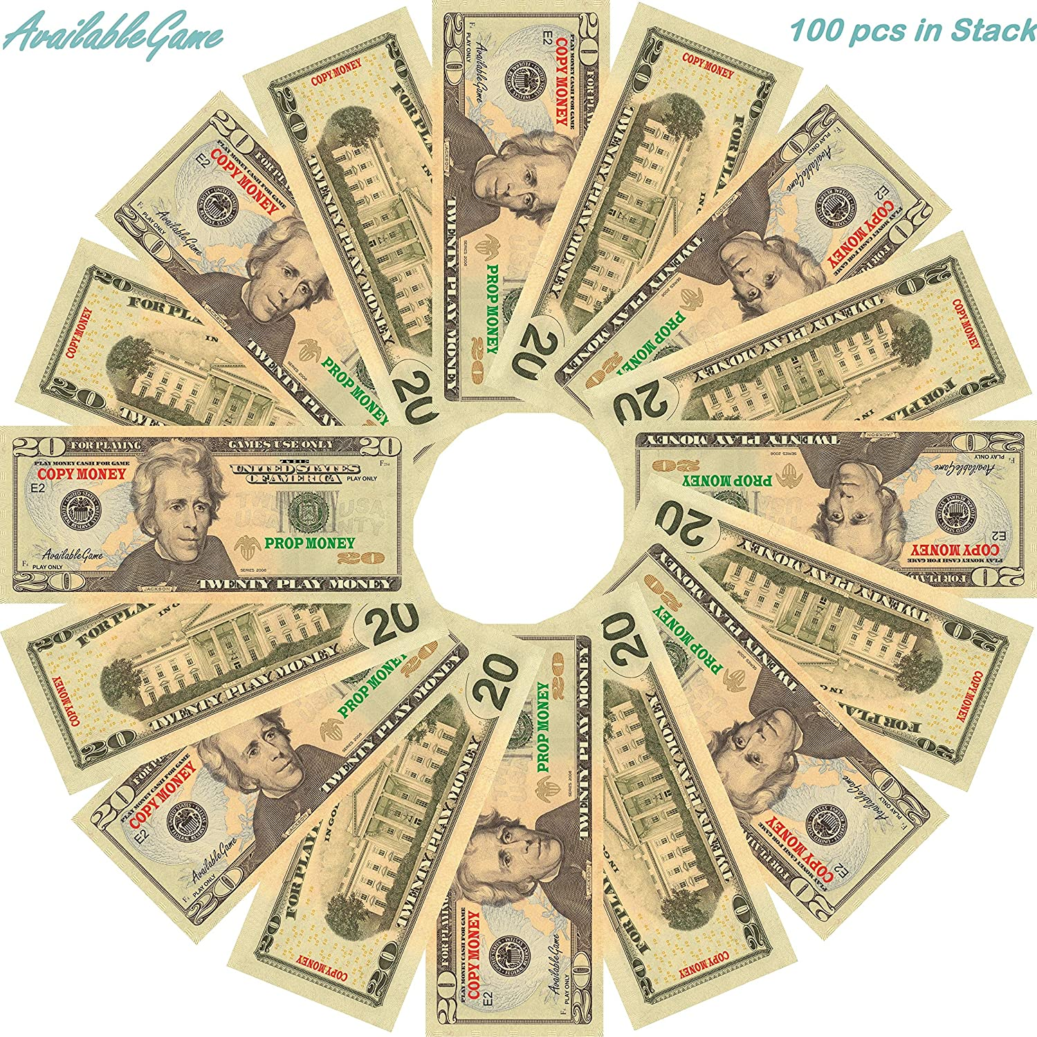 AvailableGame 20 Dollars Play Money for Games Monopoly Prop Paper Copy Money Double-Sided Printing 100 pcs $2,000 Educational Twenty Dollar Bills Copy Money Stack for Kids