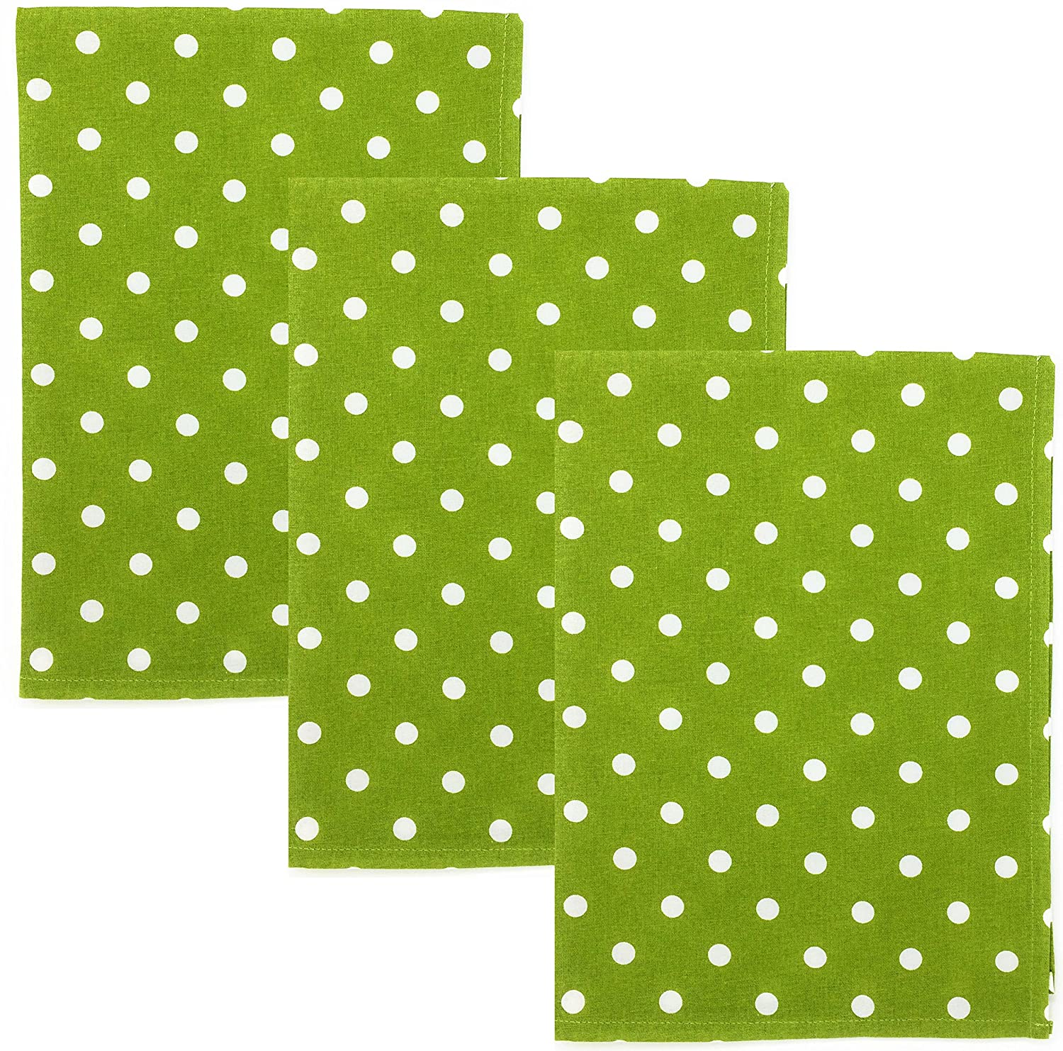 Dunroven House Polka Dot 100% Cotton Kitchen Towels, Set of 3 (Lime Green)