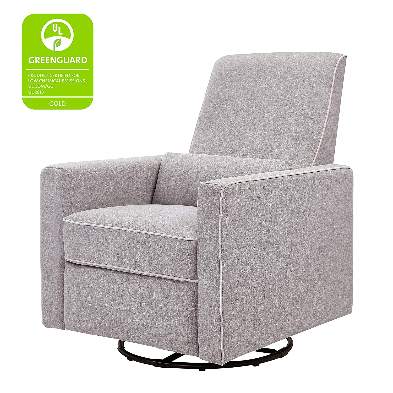 brand new 2f8b9 4d02f DaVinci Piper Upholstered Recliner and Swivel Glider, Grey with Cream Piping
