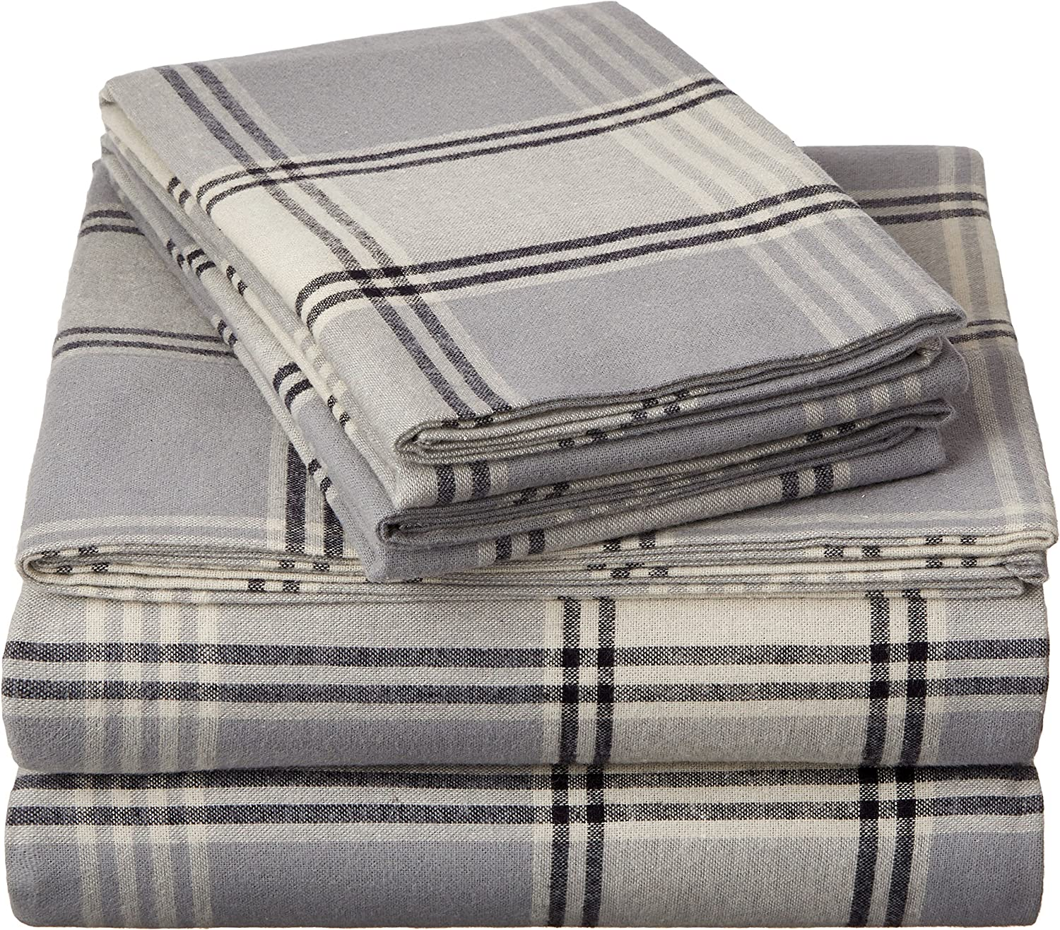 Amazon Com Pinzon Plaid Flannel Bed Sheet Set California King Grey Plaid Home Kitchen
