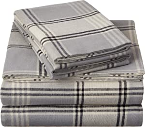 Pinzon 160 Gram Plaid Flannel Sheet Set - Twin XL, Grey Plaid - FLSS-GYPL-TXL