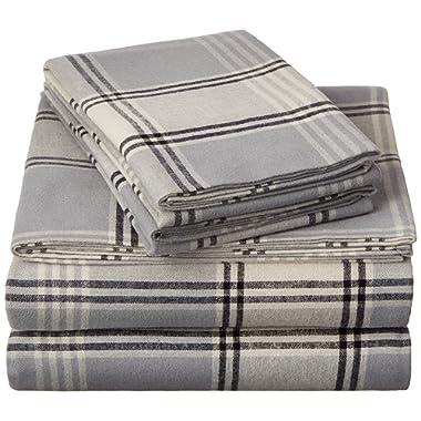 Pinzon Plaid Flannel Bed Sheet Set - King, Grey Plaid