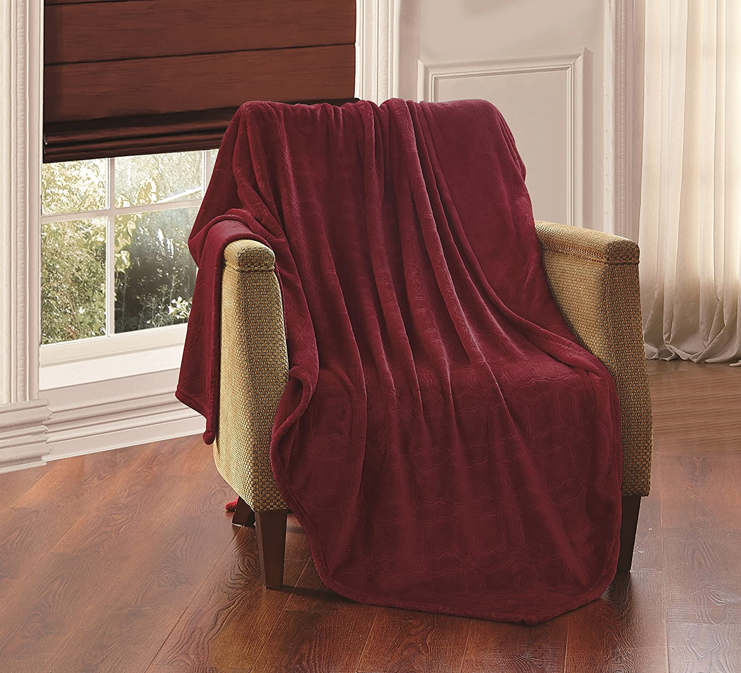 Solid Embossed Ashly Throw Blanket Queen/King Size (Burgundy