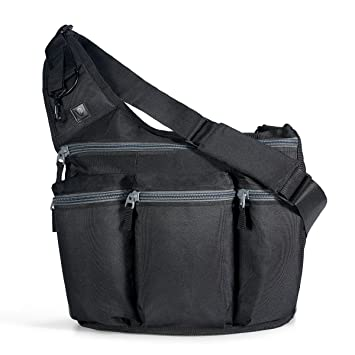 Amazon.com  Diaper Dude Black Diaper Bag with Changing Pad + Cross Body  Messenger Bag for Men  The Perfect Gift for a New Dad  Clothing d73421cf920aa