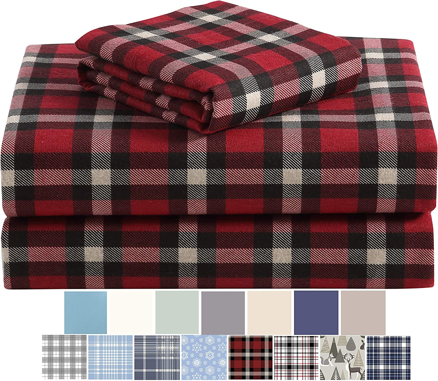 Morgan Home Cotton Turkish Flannel Sheets 100% Brushed Cotton for Supreme Comfort - Deep Pockets - Warm and Cozy, Great for All Seasons (Dover Plaid Red, Twin)