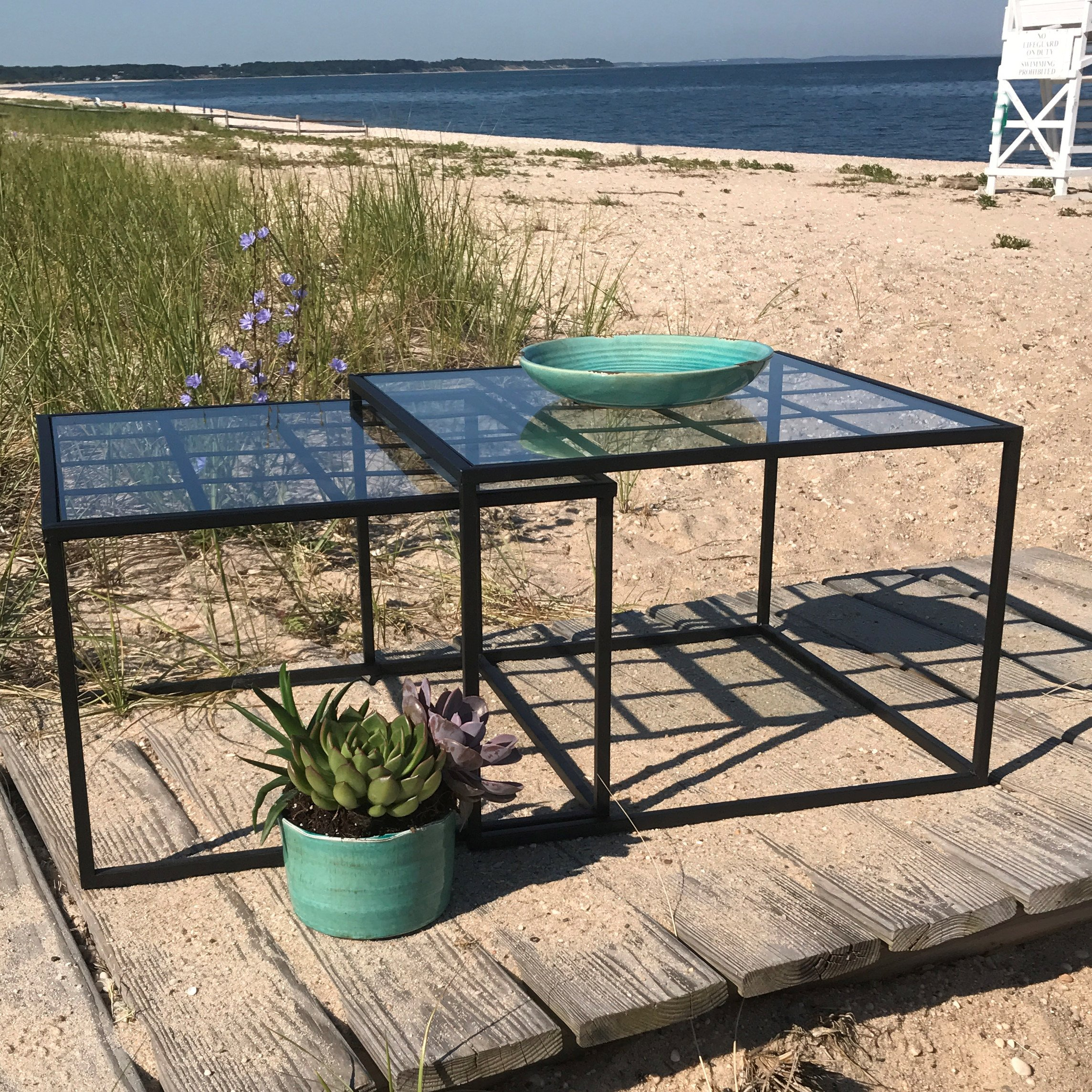 The Iconic Glass Top Square Nesting Tables, Set of 2, Black Iron Base, Approximately 20 and 22 Inches, Rust Resistant, Indoor or Outdoor, By Whole House Worlds by Whole House Worlds