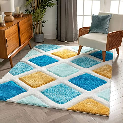 Well Woven San Francisco Posh Blue Modern Geometric 3D Textured Thick And Soft Shag 5'3″ x 7'3″ Area Rug