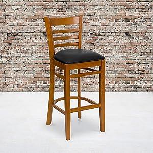 Flash Furniture HERCULES Series Ladder Back Cherry Wood Restaurant Barstool - Black Vinyl Seat