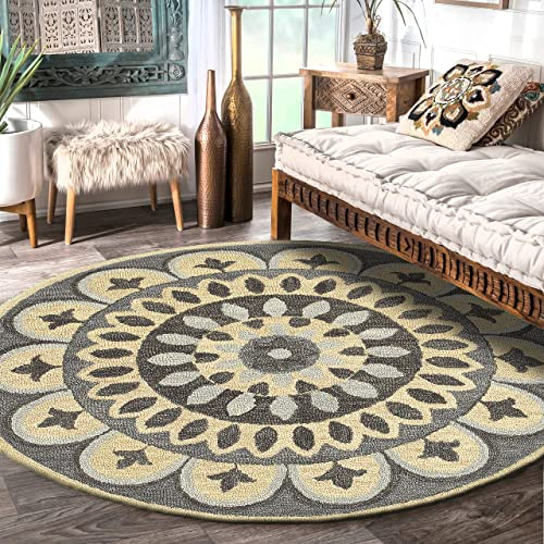 LR Resources Area Dazzle LR54054-GRY60RD Gray 6 ft Plush Indoor Round Rugs, 6