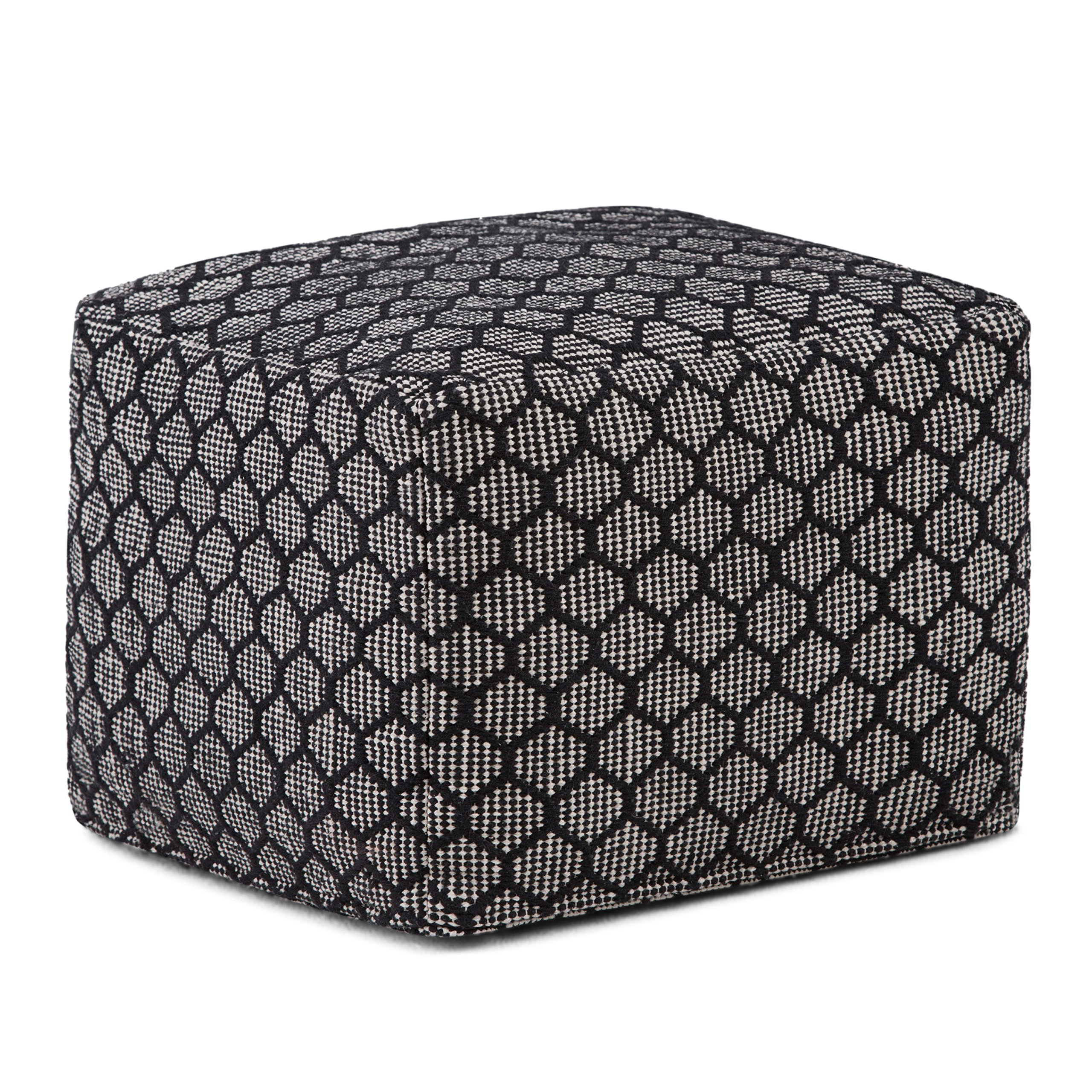 Simpli Home Simpson Square Pouf, Patterned Black and Natural