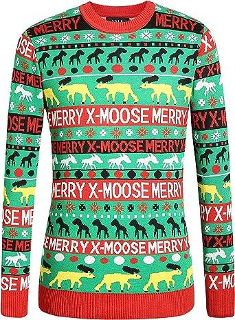 SSLR Mens Xmas Holiday Crewneck Pullover Ugly Christmas Sweater