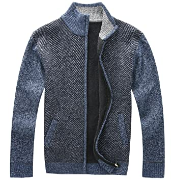 Vcansion Mens Vintage Zipper Front Thick Cardigan Sweater Thick