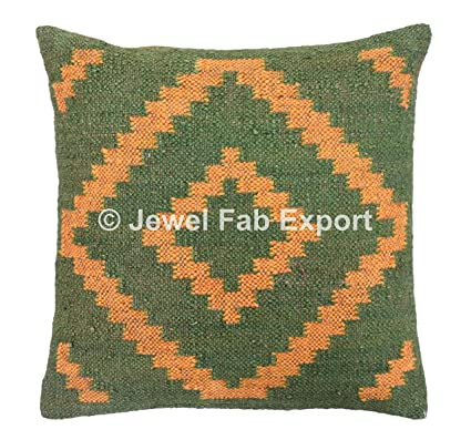 Buy Handwoven Kilim Pillow Cover 18x18 Indian Outdoor Cushions