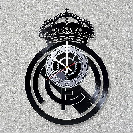Reloj de pared de disco de vinilo de Fútbol Champions Liga Real Madrid Decor Unique Ideas