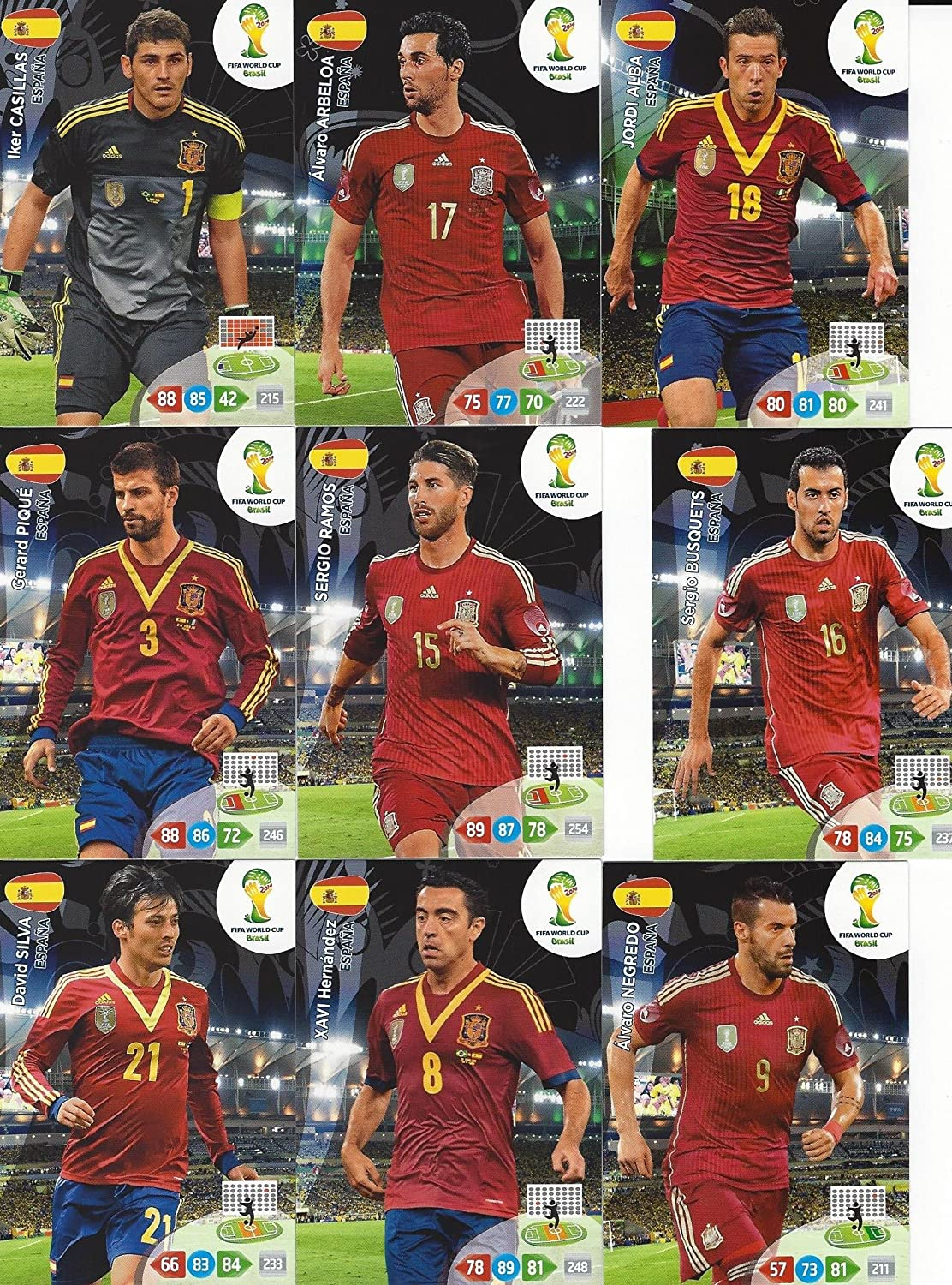 FIFA World Cup 2014 Brazil Adrenalyn XL Spain (Espana) Base Card Team Set: Amazon.es: Juguetes y juegos