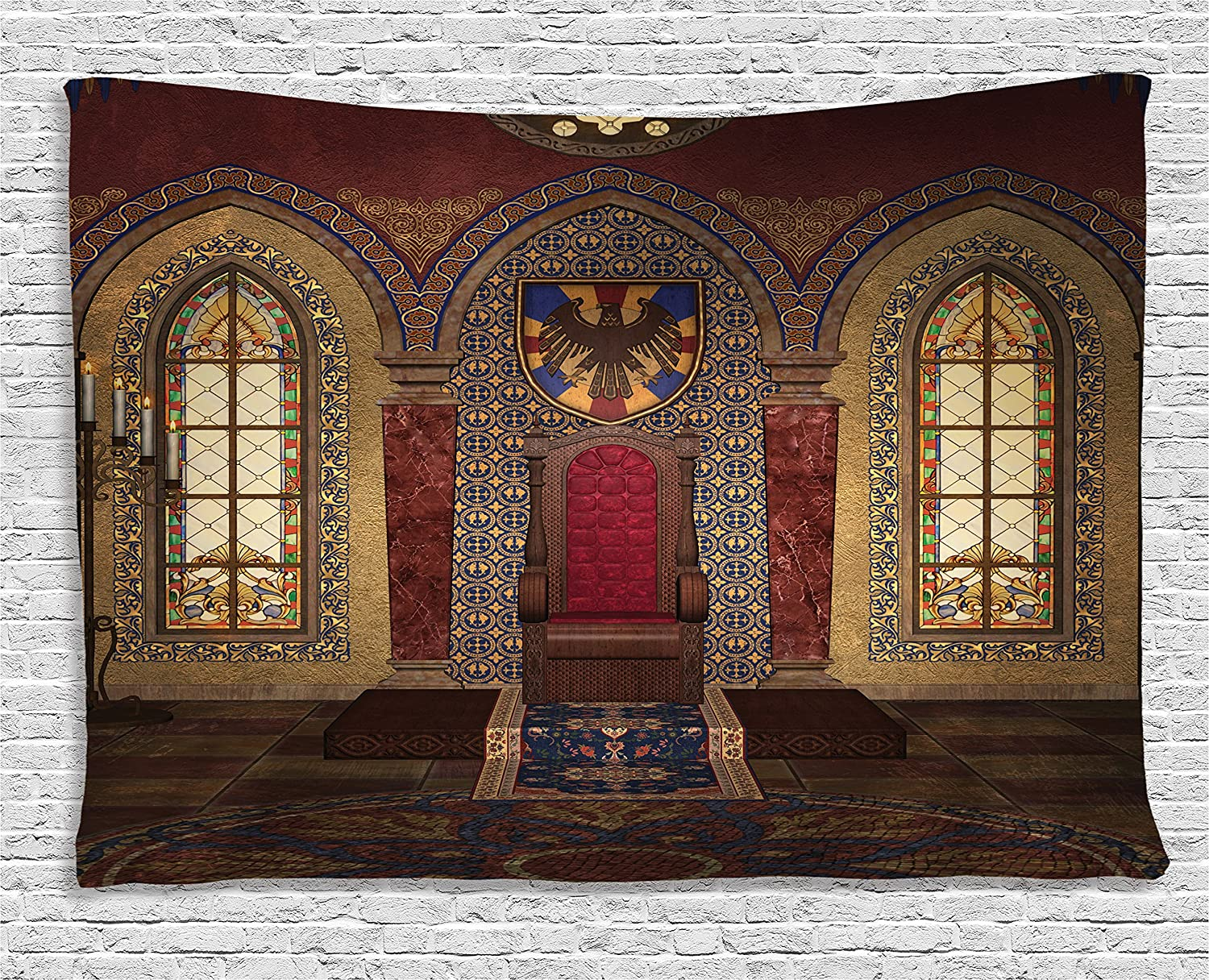 """Ambesonne Gothic Tapestry, Red Medieval in Chapel Eagle Portrait on Wall Fantasy Building Print, Wide Wall Hanging for Bedroom Living Room Dorm, 60"""" X 40"""", Brown Ruby"""
