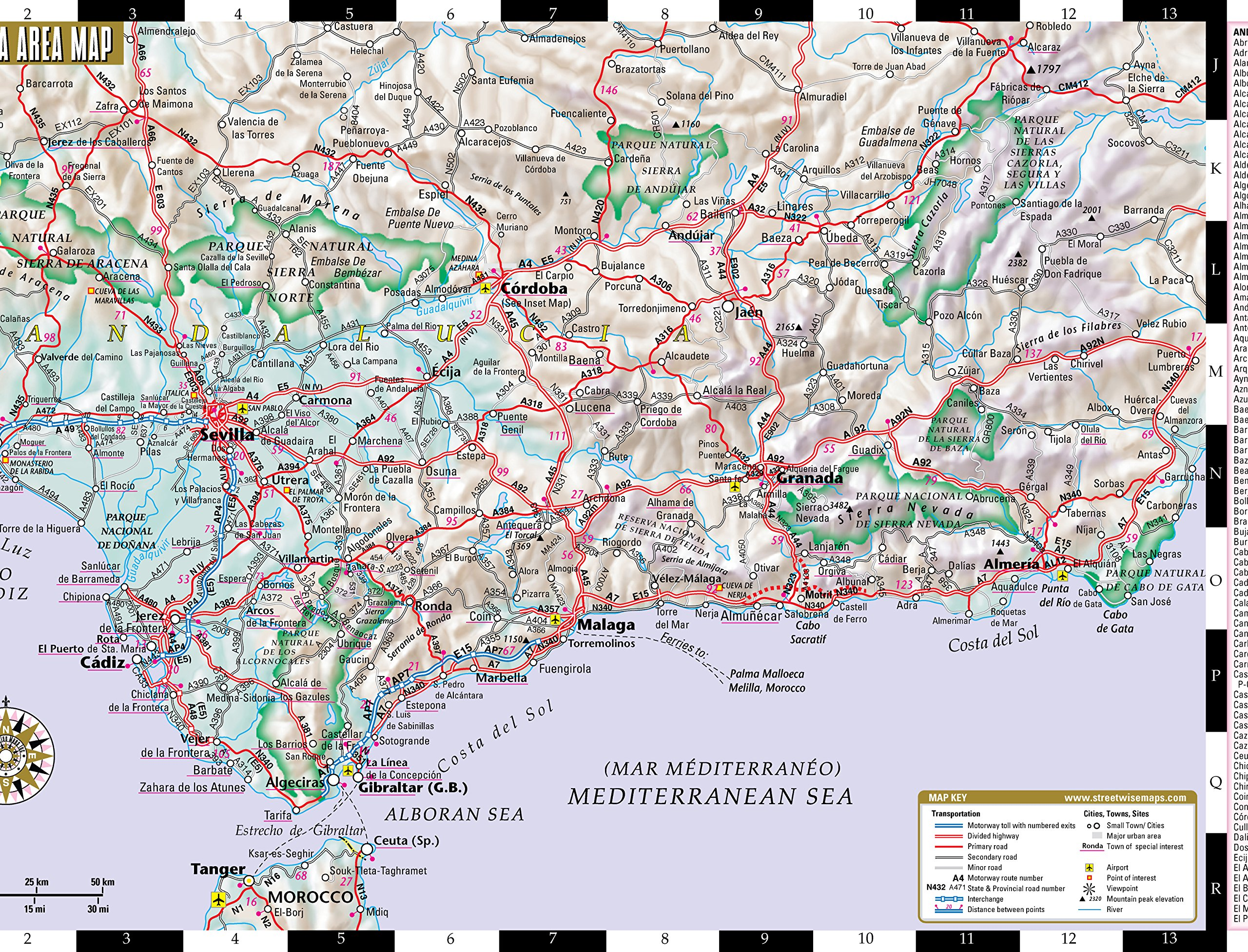 Detailed Map Of Southern Spain.Streetwise Seville Map Laminated City Center Street Map Of Seville