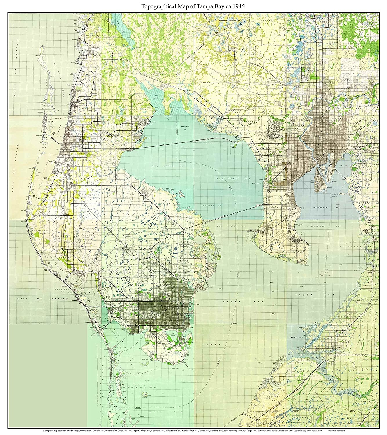 Amazon.com: Tampa Bay, Florida 1945 Topo Map - A Composite made from on
