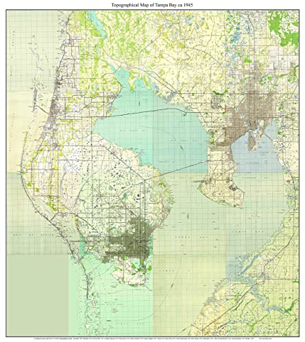 Map Of Tampa Bay Florida.Amazon Com Tampa Bay Florida 1945 Topo Map A Composite Made From