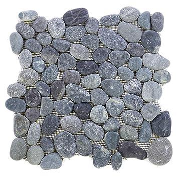 Divero Flusskiesel Flussstein Naturstein Mosaik Fliesen Für Wand Boden Grau  11 Matten 30 X 30cm