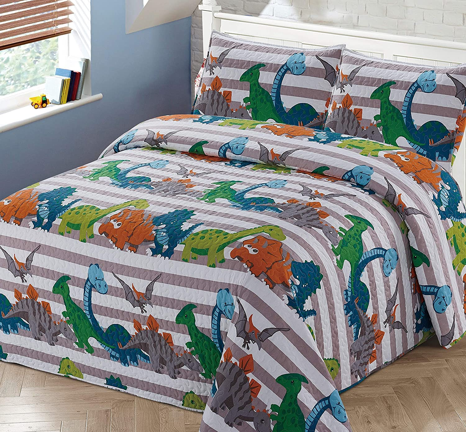 2pc Twin Bedspread Coverlet Quilt Set Kids//Teens Childrens Multi-Color Dinosaurs Stripe Quilt Grey Orange White Green Blue All Dinosaurs New