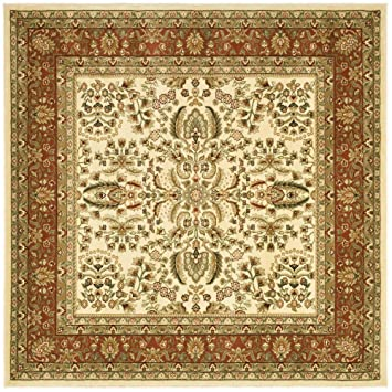 safavieh lyndhurst collection lnh214r traditional oriental ivory and rust square area rug 6u0027 square - Square Area Rugs