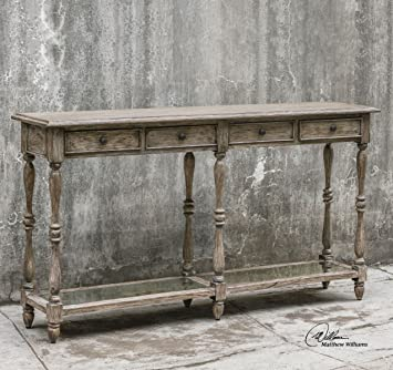 Ordinaire Extra Wide Distressed Weathered Wood Console Table | Long Cottage Vintage  Style