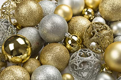 100 Gold And Silver Christmas Ornament Balls Shatterproof Metal Hooks Hanging Ornaments