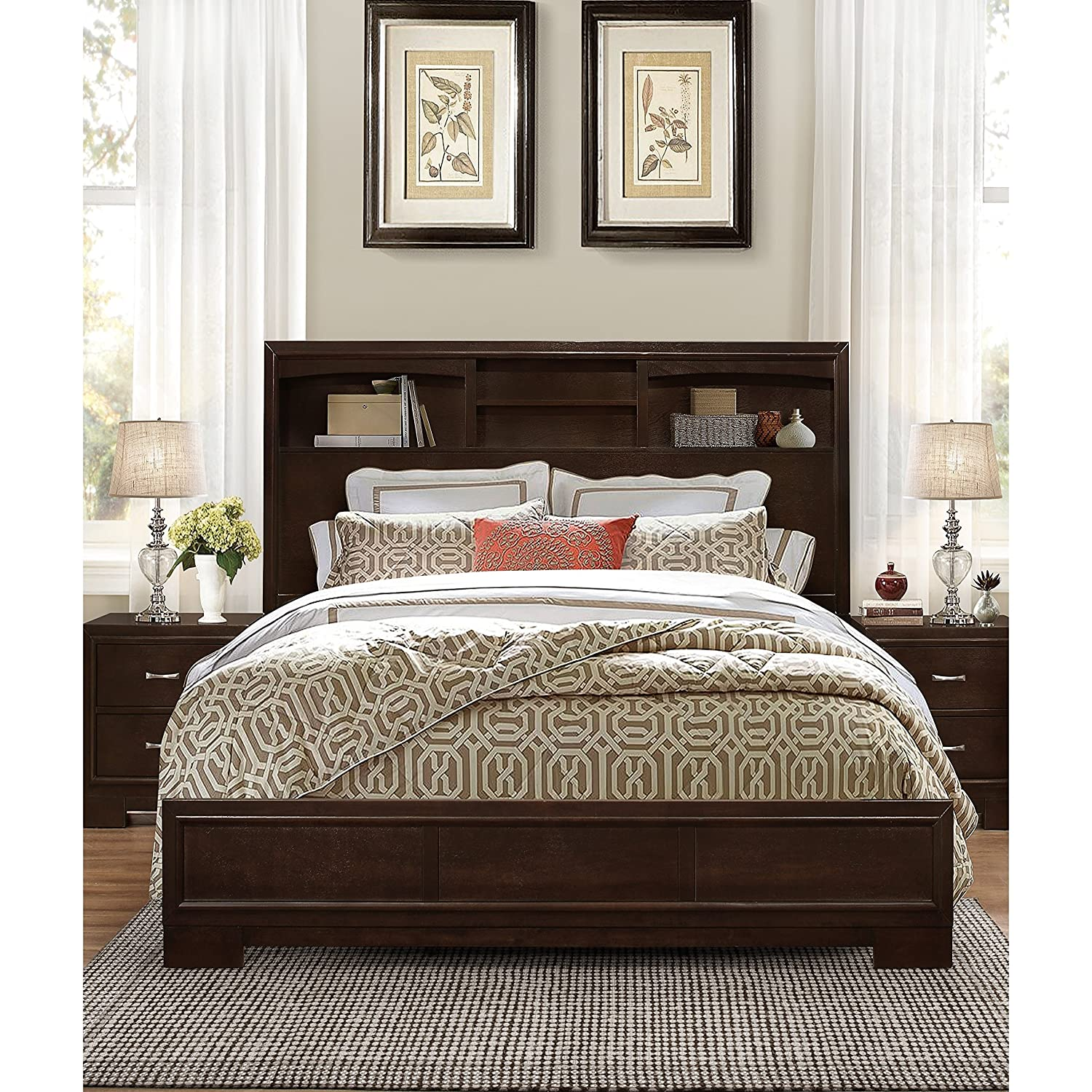 amazon com roundhill furniture montana modern wood bookcase bed