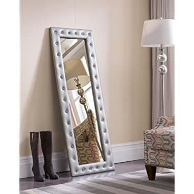 Kings Brand Furniture Modern Upholstered Tufted Standing Floor Mirror, Silver Vinyl