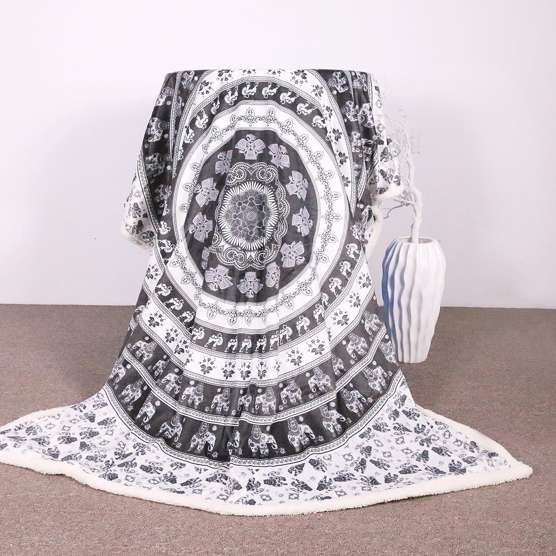 Amazon.com: Sleepwish Elephant Mandala Blanket Black White Sherpa ...