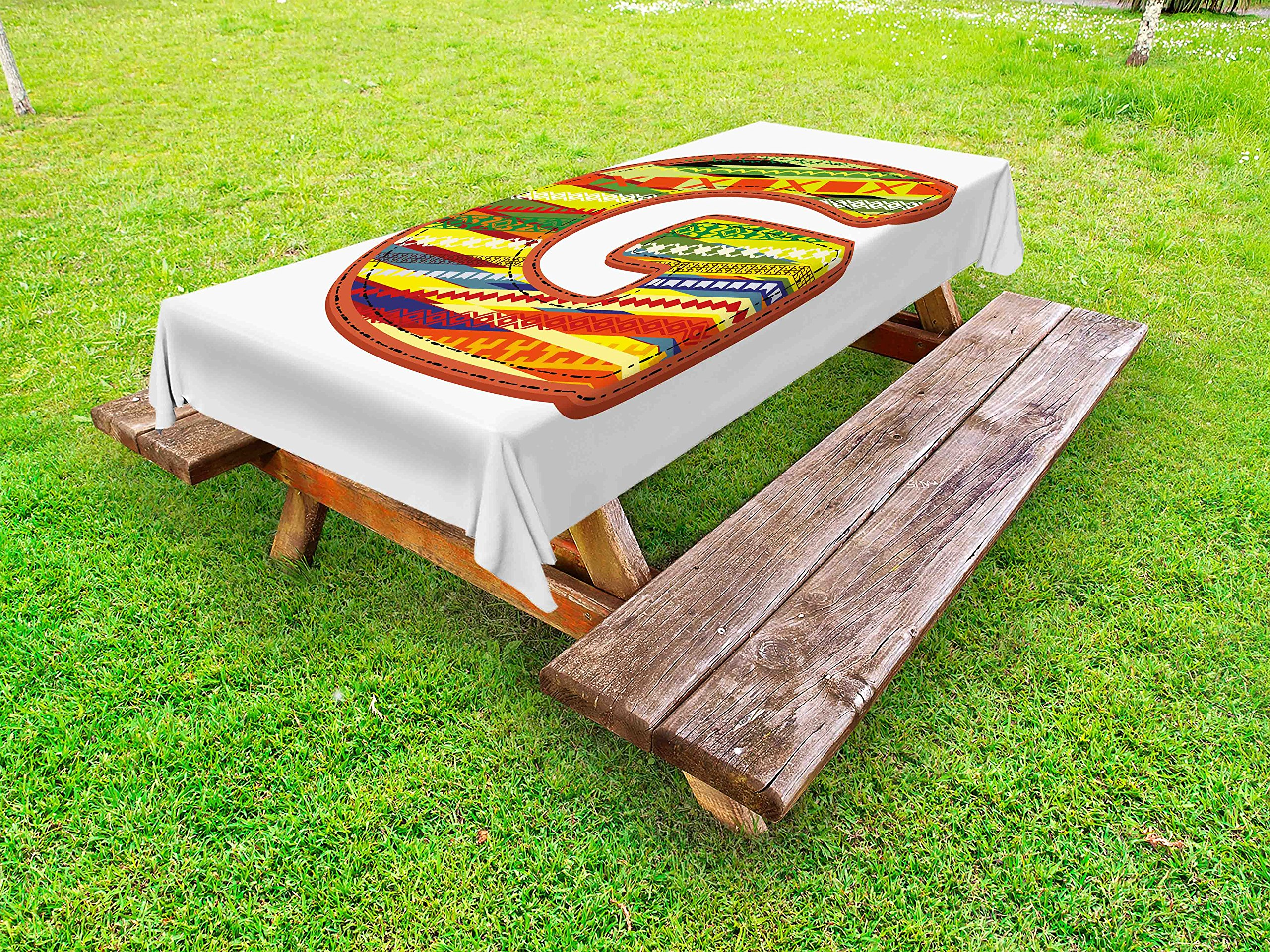 Ambesonne Letter G Outdoor Tablecloth, G Letter Character Language System Learning College Surname Red Calligraphy Design, Decorative Washable Picnic Table Cloth, 58 X 120 inches, Multicolor