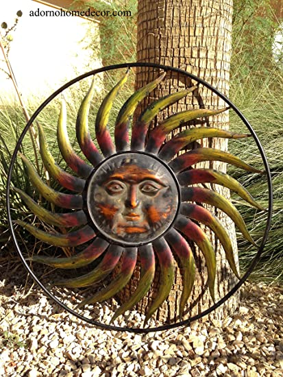 5af6911eba7d3 Image Unavailable. Image not available for. Color  Large Round Metal Sun  Wall Decor Garden Art