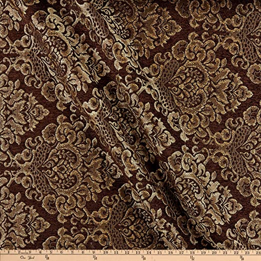 "Beige//Brown//White w//Leaves Durable 56/"" Wide Upholstery Fabric Sold by the Yard"